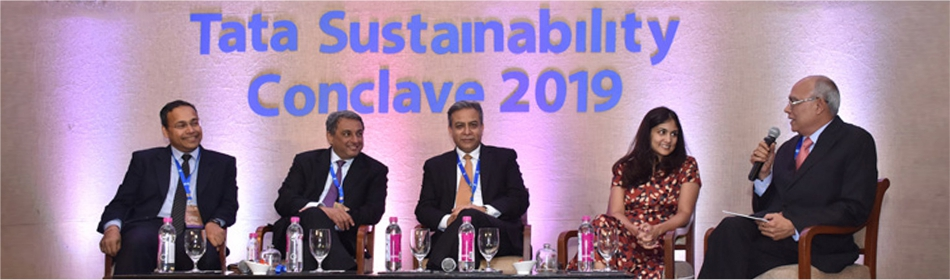 L-R: Mr. R. Mukundan, MD & CEO, Tata Chemicals; Mr. T. V. Narendran, MD & CEO, Tata Steel; Mr. Banmali Agrawala, President, Infrastructure & Aerospace & Defence, Tata Sons; Ms. Roopa Purushothaman, Chief Economist and Head of Policy Advocacy, Tata Sons; and Mr. S. Padmanabhan, Executive Chairman, TBExG