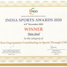 "Tata Steel recognised as the ""Best Organisation Contributing in Sports Through CSR"" at the FICCI India Sports Awards 2020"